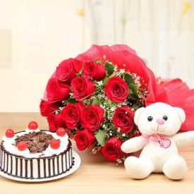 Black Forest Cake with Roses and soft toy