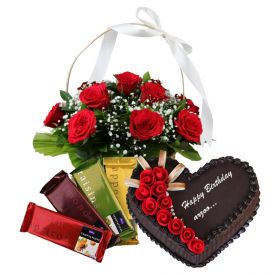 Basket of roses, heart shaped cake and temptation