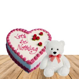 1 Kg heart shaped vanilla cake and 12 inch pink teddy bear
