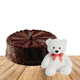 1 kg Double chocolate fresh cream cake with 6 inch teddy bear