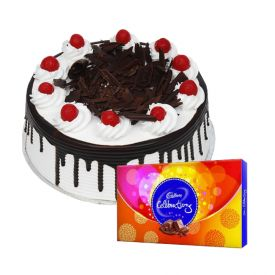 1/2 Kg black forest cake with cadbury celebrations