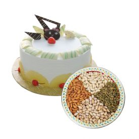 1/2 Kg white forest cake with 1/2 Kg dry fruits