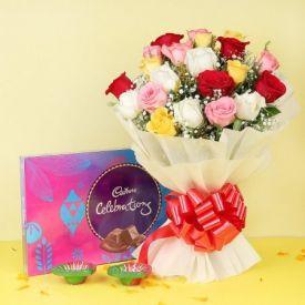 Mixed Roses With Diya