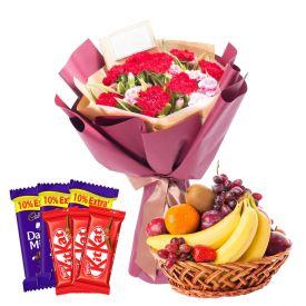 12 Mixed Flowers With 2 Kg Mixed Fruits and 6 Pcs Cadbury Dairy Milk & Kit kat Chocolates