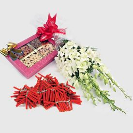 White Orchids with Diwali Fire Crackers and Dry Fruits