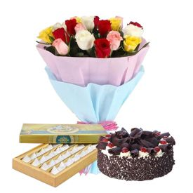 10 mixed Roses, 1 Kg Black forest cake and 1 Kg Kaju Katli