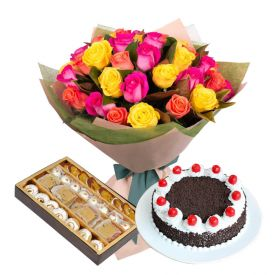 20 mixed Roses, 1 Kg Black forest cake and 1 Kg mixed sweets