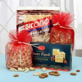 Mixed Dry Fruits, Soan Papdi with Almonds