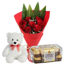 Bunch of 12 roses 12 inch teddy and 16 Pcs ferrero rocher