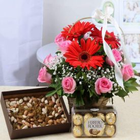 Mixed Flower,16 pcs Ferrero Rocher and Dry fruits