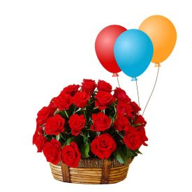 Basket of 20 Red roses with 10 Balloons