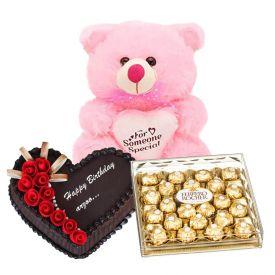 1 Kg heart shaped chocolate cake, 24 pcs ferrero Rocher chocolate and 12 inch teddy bear