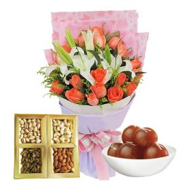 20 Mixed Flowers,500 Kg Mixed Dry fruits and 1 kg Gulab Jamun