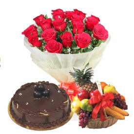 Basket of 20 Red Roses, 1 Kg chocolate cake and 3 Kg mixed fruits in Basket