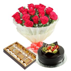15 Red Roses, 1 Kg Chocolate Fruit cake and 1 Kg mixed sweets