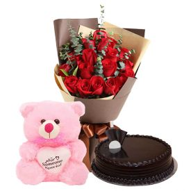 Truffle cake, Roses with soft toy