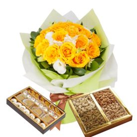12 Yellow Roses,Half Kg Mixed sweets and Half Kg Dry Fruits