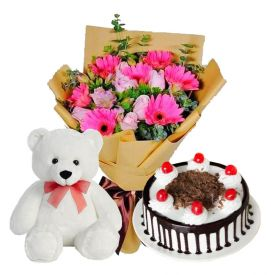 Cake, Flowers with Teddy