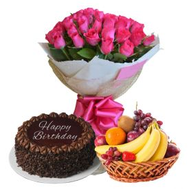 Pink Roses with cake and fruits