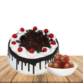 1 Kg Black forest cake with 1 Kg Gulab Jamun
