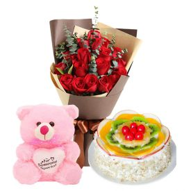 A bunch of 12 red roses 1/2 kg fruit cake and (6-inch-cute pink teddy bear)