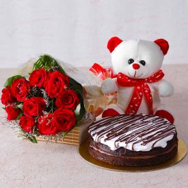 10 Red Roses, 1/2 chocolate Cake with small teddy