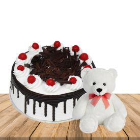 1 kg blackforest cake with 1 feet height white colour teddybear
