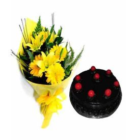 Yellow flowers With Truffle Cake