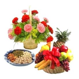 Flowers, Mixed fruits with Dry fruits