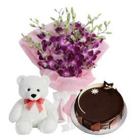 A bunch of 12 Purple orchid 1/2 kg chocolate truffle cake and (12-inch-teddy bear)