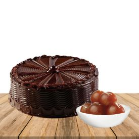 Gulab Jamun and Chocolate cake