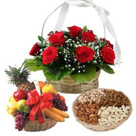 1/2 kg dry fruits , 20 red roses basket and 2kg mixed fruits
