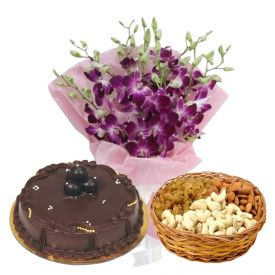 a bunch of 10 purple orchids, 1 kg ,dry fruits and 1/2 kg chocolate cake