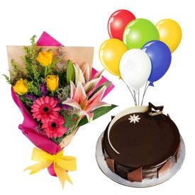 Half Kg Chocolate Cake,6pcs Balloons and 12 Mixed Flowers