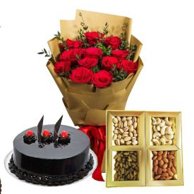 20 Red Roses, 1/2 Kg Dry fruits and 1/2 Kg chocolate cake