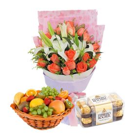 12 Mixed Flowers and 2kg Mixed Fruits,16 Pcs Ferrero Rocher Chocolates Basket