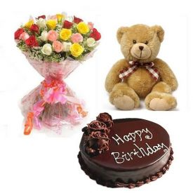 Mixed roses, chocolate cake and teddy