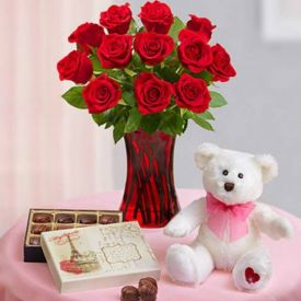 10 Red Roses with vase, Teddy bear & handmade Chocolates