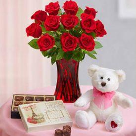10 Red Roses with vase, Teddy bear & handmade Chocolates