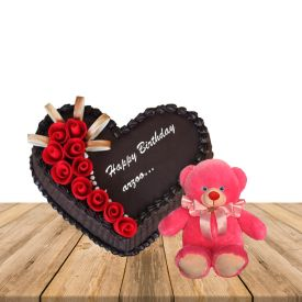 1 kg heart shape Chocolate fresh cream cake with 2 feet height white teddy bear