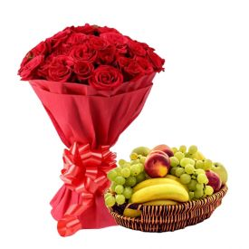 Red Roses With Mixed Fruits with Basket