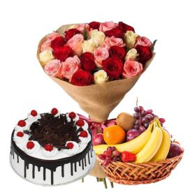 Bunch of 20 mixed Roses and 3 kg fruits in Basket and 1/2 kg Black forest cake