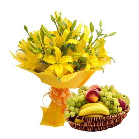 Mixed lilies With Mixed Fruits with basket