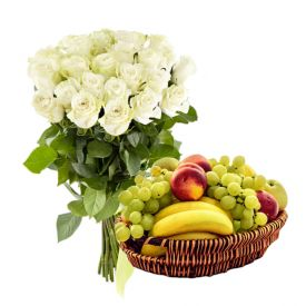 10 White Roses and 2 Kg Mixed Fruits with Basket