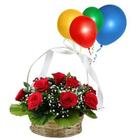 Basket of 15 red roses and 10 balloons