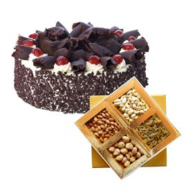 1 Kg Black forest cake with 1 Kg dry fruits