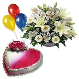 1 kg heart shaped strawberry cake, Basket of 12 white gerberas and 5 balloons