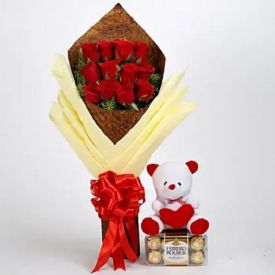 12 Red Roses, 6 inch Teddy Bear and 16 pcs Ferrero rocher