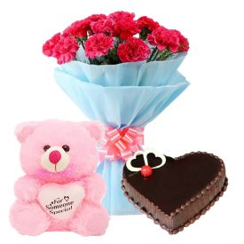 A bunch of 15 Red carnation 1/2 kg chocolate cake and (12 inch lovely pink teddy bear)