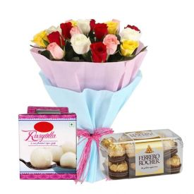 12 Mixed Roses,16 Ferrero Rocher Chocolates and 1 Kg Rasgulla